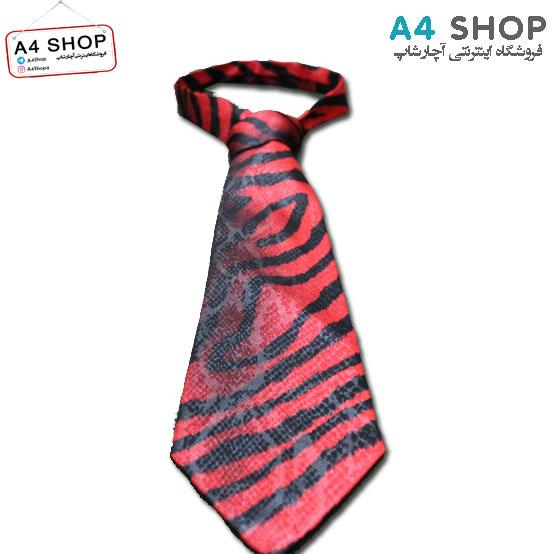 کراوات مردانه مدل پلنگی قرمز سایز بزرگ