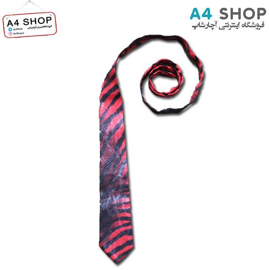 کراوات مردانه مدل پلنگی قرمز